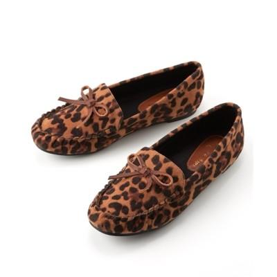 リボン付モカシンシューズ(ワイズ3E) シューズ(フラットシューズ) Shoes