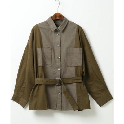 ダブルネーム DOUBLE NAME 配色ミリタリーシャツ(A) (カーキ)