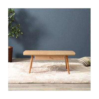 木目が美しい天然木突板の引き出し付きテーブル(スクエア) ローテーブル・リビングテーブル, Tables(ニッセン、nissen)