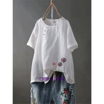 シャツブラウストップスプルオーバーシャツブラウスレディース半袖無地40代綿麻Uネック夏刺繍花柄柄体型カバーゆったり大きいサイズおしゃれ