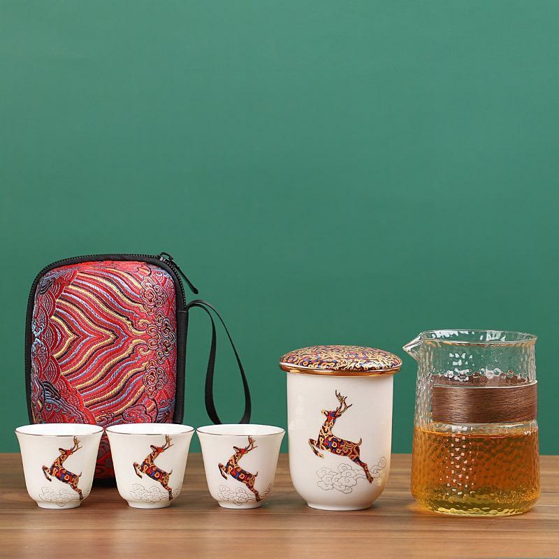 快客杯 便攜包旅行茶具套裝一壺三杯玻璃快客杯陶瓷功夫茶壺防燙隨身杯