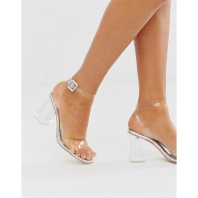 シミ レディース サンダル シューズ Simmi London Kehlani silver clear flared heel sandals
