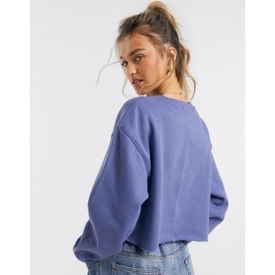 デイジーストリート レディース パーカー・スウェットシャツ アウター Daisy Street cropped sweatshirt with rude print LILAC