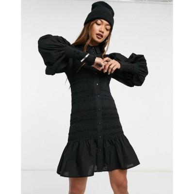 エイソス ミニドレス レディース ASOS DESIGN shirred mini shirt dress in black エイソス ASOS ブラック 黒