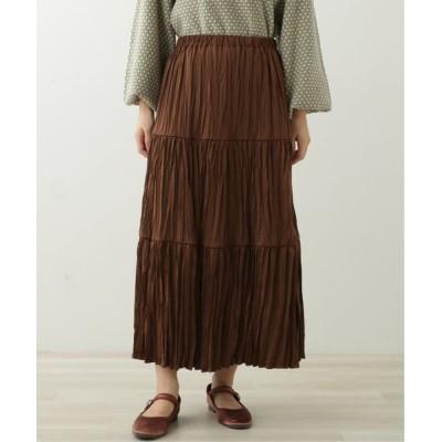Ray Cassin / サテンプリーツティアードスカート WOMEN スカート > スカート