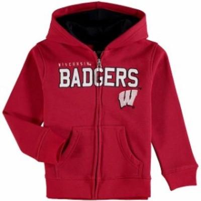 Genuine Stuff ジュニュイン スタッフ スポーツ用品  Wisconsin Badgers Preschool Red Stated Full-Zip Hoodie