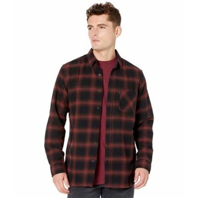 リップカール シャツ トップス メンズ Check This Long Sleeve Shirt Maroon