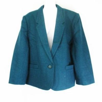 【中古】パストーラ PASTORA  東京スタイル  肩パット入り ウール1B テーラードジャケット エメラルドグリーン系23L61