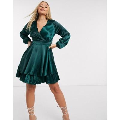 アックスパリス ミディドレス レディース AX Paris satin wrap dress in teal エイソス ASOS グリーン 緑
