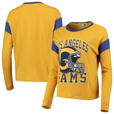 ジャンクフード Tシャツ トップス レディース Los Angeles Rams Junk Food Women's Big Logo Long Sleeve T-Shirt Gold