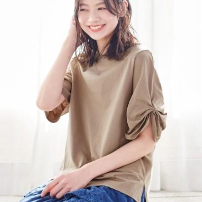 ベルーナ 綿100%袖タックTシャツ オフホワイト 4L レディース 綿100% コットン シンプル カジュアル 定番 半袖 ゆったり 楽ちん 洗濯機