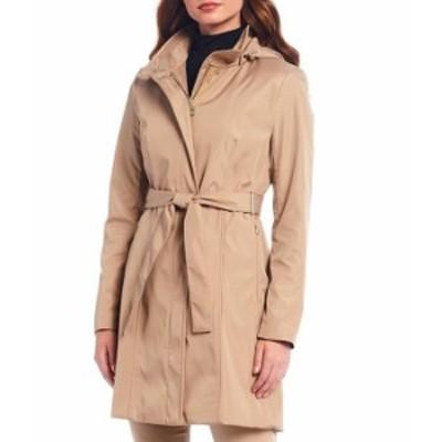 カルバンクライン レディース コート アウター Single Breasted Stand Collar Belted Trench Coat Khaki
