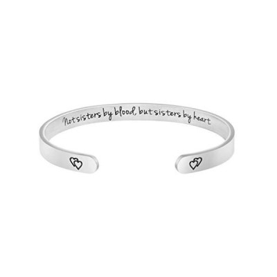 Joycuff Best Friend Jewelry Gift for BFF Unbiological Sister Bridesmaid Not Sisters by Blood, But Sisters by Heart Cuff Bracelet【並行輸