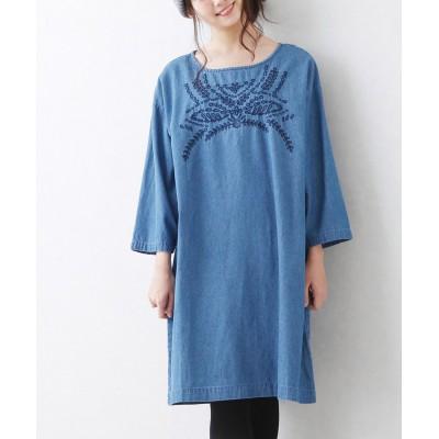 ライトオンスデニム刺繍入ワンピース (ワンピース)Dress
