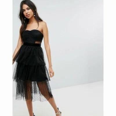 エイソス ワンピース ASOS Bandeau Dobby Tiered Mesh Midi Prom Dress Black