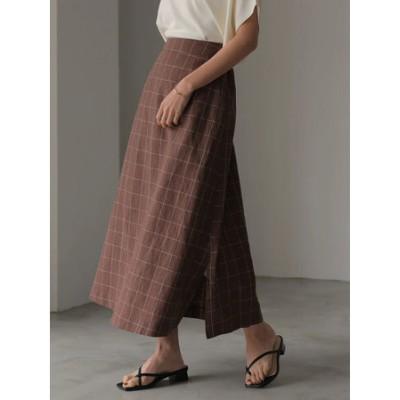 リネンブレンドAラインスカート
