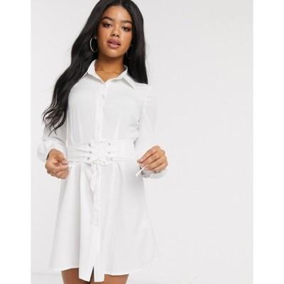 インザスタイル レディース ワンピース トップス In The Style corset detail oversized shirt in white