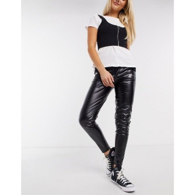 QEDロンドン レディース カジュアルパンツ ボトムス QED London PU pants in black Black