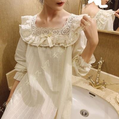 ネグリジェ 姫系 お嬢様 プリンセス レース刺繍 リボン フリル セクシー ゆったり 宮廷スタイル ルームウェア ネグリジェ ルームワンピース 長袖 ルームウェア