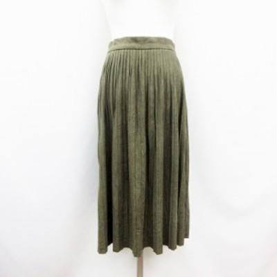 【中古】ザラ ベーシック ZARA BASIC フェイクスエード プリーツ スカート S 緑 グリーン系 ●30 レディース