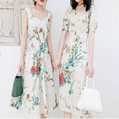 花柄 リボン ワンピース ミモレ丈ワンピース リゾートファッション Aラインスカート ノースリーブ レディース 韓国 ファッション
