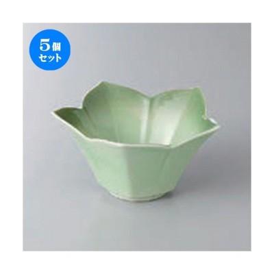 5個セット☆ 小鉢 ☆緑彩花型小鉢 [ 11.2 x 5.7cm ] 【 料亭 旅館 和食器 飲食店 業務用 】