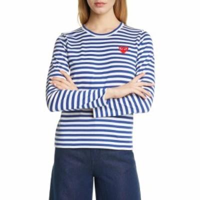 コム デ ギャルソン COMME DES GARCONS PLAY レディース Tシャツ トップス Stripe Cotton Tee Navy/White