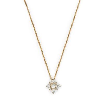 ロバートコイン レディース ネックレス・チョーカー アクセサリー 18K Yellow Gold Diamond Star Pendant Necklace 16