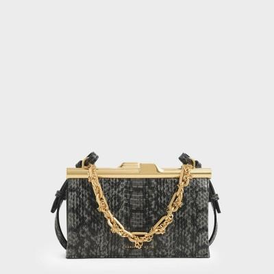 ボクシー チャンキーチェーンクラッチ / Boxy Chunky Chain Clutch (Black)