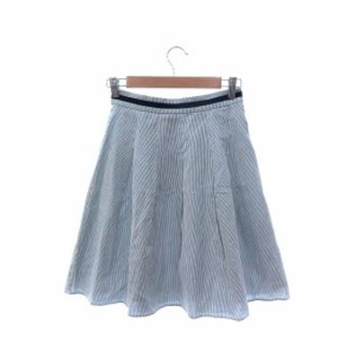【中古】ナチュラルビューティーベーシック NATURAL BEAUTY BASIC スカート フレア ひざ丈 ライン ストライプ S 青