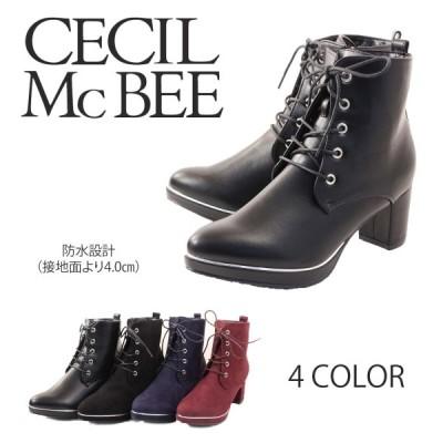 CECIL McBEE セシルマクビーブーツ ショートブーツ サイドジッパー レースアップ 防水 cm8088