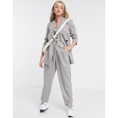 エイソス ASOS DESIGN レディース スーツ・ジャケット アウター mansy 3 piece suit blazer in taupe texture グレー
