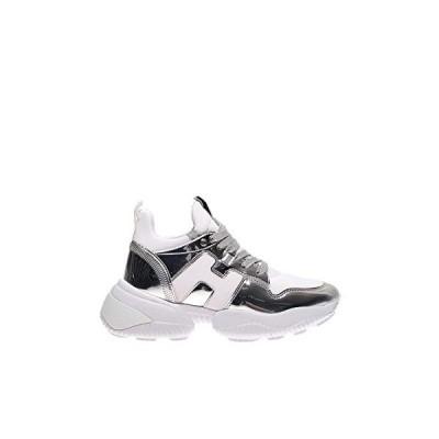 Hogan Luxury Fashion Woman GYW4870CH20MSX0351 Silver Leather Sneakers   Spring Summer 20 並行輸入品