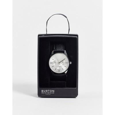 バートン Burton Menswear メンズ 腕時計 Burton leather watch ブラック