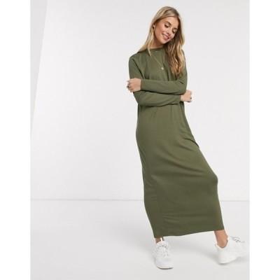 エイソス レディース ワンピース トップス ASOS DESIGN long sleeve maxi t-shirt dress in khaki