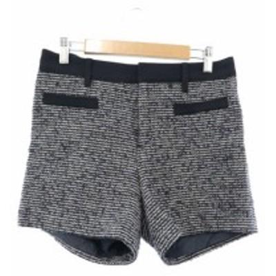 【中古】B&Y ユナイテッドアローズ パンツ ショート ジップフライ フェイクポケット ツイード ラメ ウール  M 紺 レディース