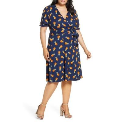 キヨナ ワンピース トップス レディース Tuscan Floral Wrap Dress Pineapple Print
