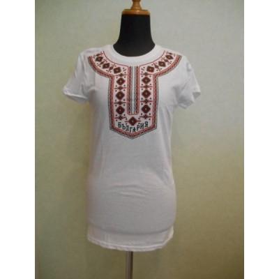 ブルガリア 刺繍 モチーフ プリント Tシャツ <8> 092