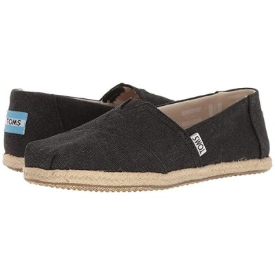 TOMS Alpargata on Rope レディース ローファー Black Washed Canvas Rope Sole
