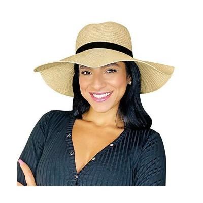 Sowift レディース 日よけ麦わら帽子 幅広のつば 風紐付き UPF サマービーチハット 女性用 US サイズ: One Size カラー: ベー