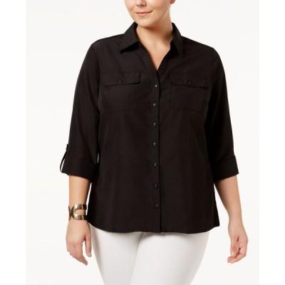 NY コレクション NY Collection レディース ブラウス・シャツ 大きいサイズ トップス Plus Size Utility Blouse Black