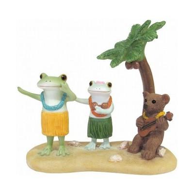 Copeau コポー みんなでフラダンス フラダンス ダンス くま クマ 小物 オブジェ カエル 置き物 置物 オブジェ 蛙 フロッグ FROG ガーデン雑貨 71732