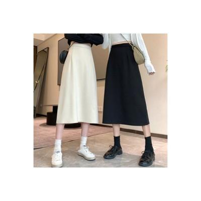 【送料無料】秋 ミディ丈 傘スカート 黒の半身裙スカート 女 着やせ ハイウエス | 346770_A63779-9705680