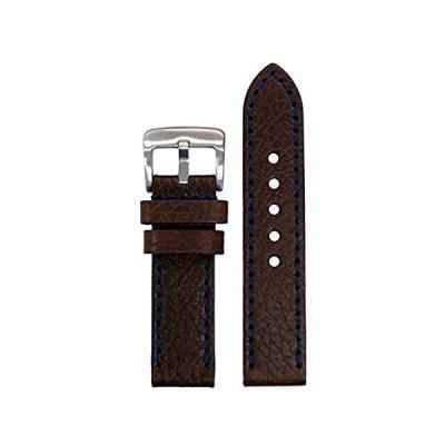 【新品・送料無料】24mm PanatimeダークブラウンPebble Grain Genuine Leather Watch Band withダークブルーステッチ
