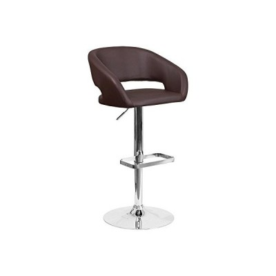 """Offex Contemporary Vinyl Adjustable Height Barstool with Chrome Base, 20.5"""" x 21'' x 42'', Brown (OFX-400222-FF)並行輸入品"""