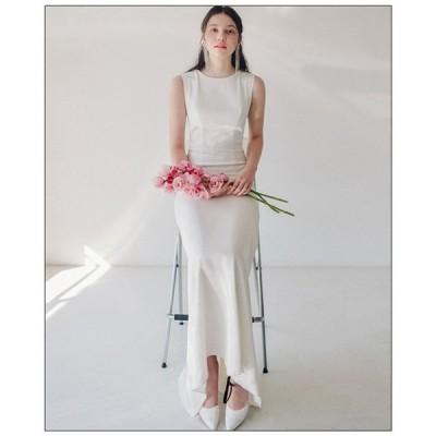パーティードレス 安い 可愛い ウエディング 結婚 結婚式ドレス パーティー ロングドレス シンプル タイト マーメイド 白 ホワイト