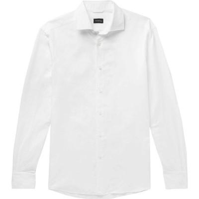 エルメネジルド ゼニア ERMENEGILDO ZEGNA メンズ シャツ トップス solid color shirt White
