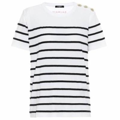 バルマン Balmain レディース Tシャツ トップス Striped cotton T-shirt Blanc/Noir/Rouge