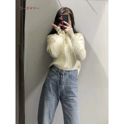 ローズマリー 欧米風 2021 2月 春 新品販売 ファッション ニットセーター メリヤス ベースのセーター 長袖ポロシャツのセーター ベーシック 2102158