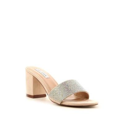 ユニセックス 靴 ミュール Cape Robbin Carrie-38 Teal Vegan Suede Thick Heel Mule Slide Rhinestone Sandal (5.5 Nude Suede)